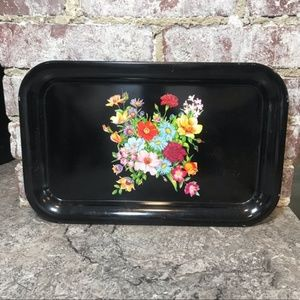 VINTAGE FLORAL DISPLAY TRAY BLACK 1960s 1970s